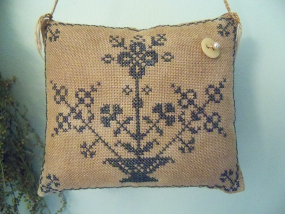 Primitive Cross Stitch  Abigail Moody Pinkeep by SimpleThymePrims, $26.95