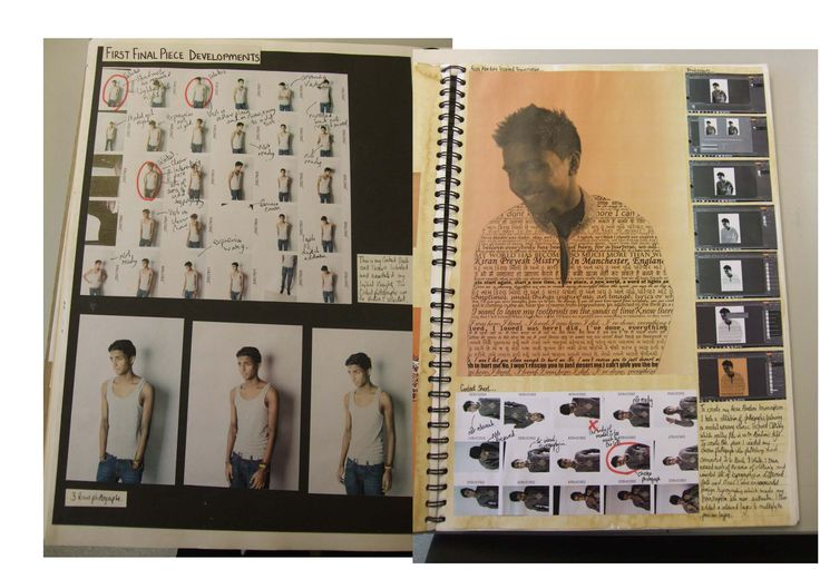 Pages showing contact strips of photos & developed work. This image is discussed in our eBook 'Sketchbook development' helping you into art college. www.portfolio-oomph.com
