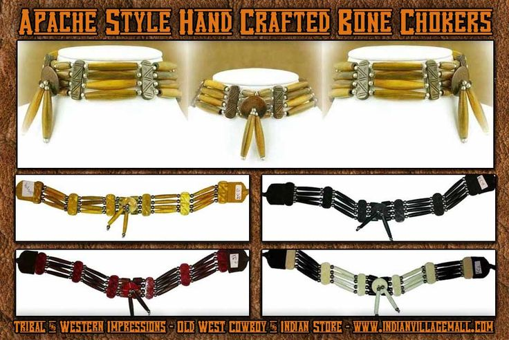 Apache Style Bone Choker Collection From Tribal And Western Impressions -Old West Cowboy And Indian Store - www.indianvillagemall.com