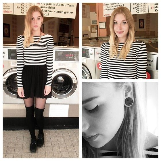 H&M Striped Crop Top, H&M Lace Dress, Black Overknees, Creepers, Crazy Factory Anchor Plug