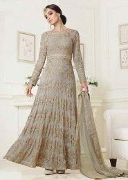 Wedding Wear Grey Georgette Embroidered Work Anarkali Suit