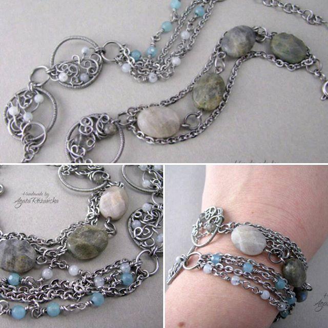 Nowe bransoletki ♡ Dostępne na www.agatarozanska.eu ETSY shop -> www.etsy.com/shop/AgataRozanskaJewelry  #bransoletki #bransoletka #wirewrapped #wirewrappingjewelry #wirewrapping #stainlesssteeljewelry #jewellery #bracelet #labradoryt #jadeit #akwamaryn #labradorite #jade #aquamarine #bracelets