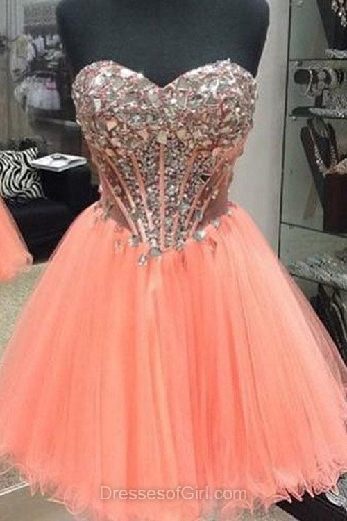 Orange homecoming dresses,short homecoming dresses,tulle homecoming dresses,cute prom dresses,modest party gowns