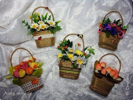 Мастер-класс магнитика Корзинка с цветами
