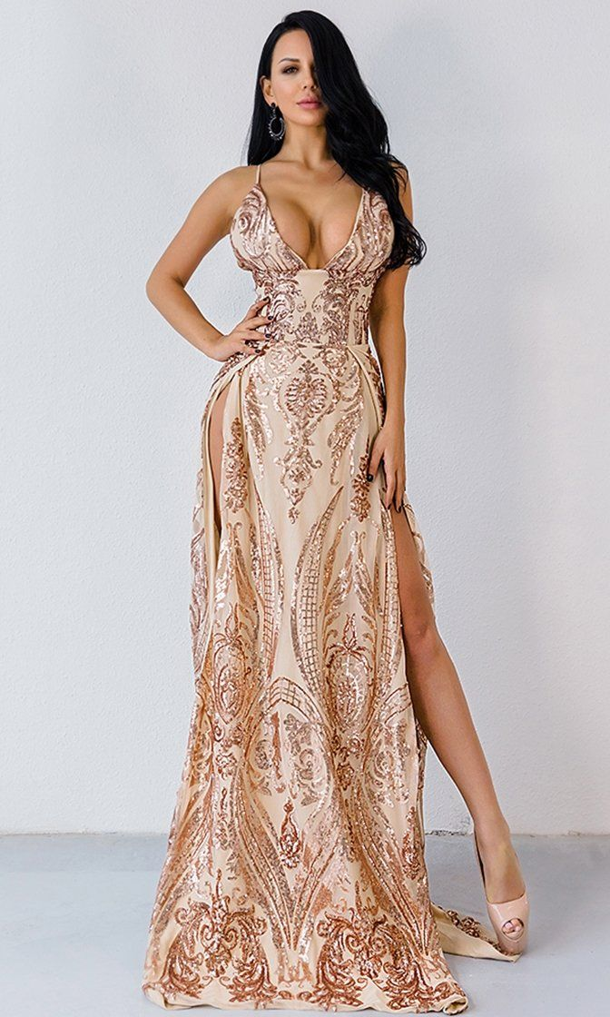 546cdcbed9 Busting Out Gold Sequin Spaghetti Strap Sleeveless Plunge V Neck Double  Slit Maxi Dress