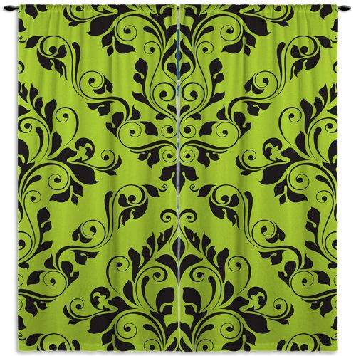 Damask Curtain, Tropical Window Treatments, Window Curtains Green, CUSTOM SIZE, Hipster Curtains #31