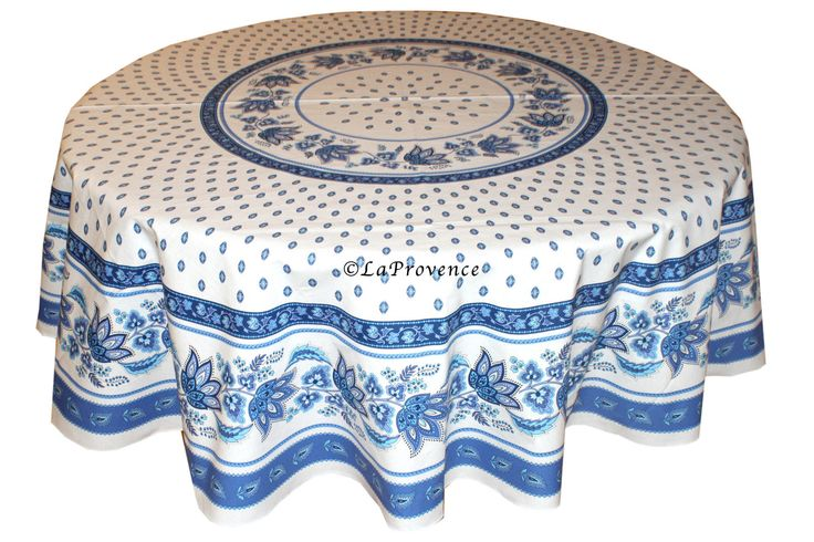 "70"" Round Provence Tablecloth:  Lisa White"