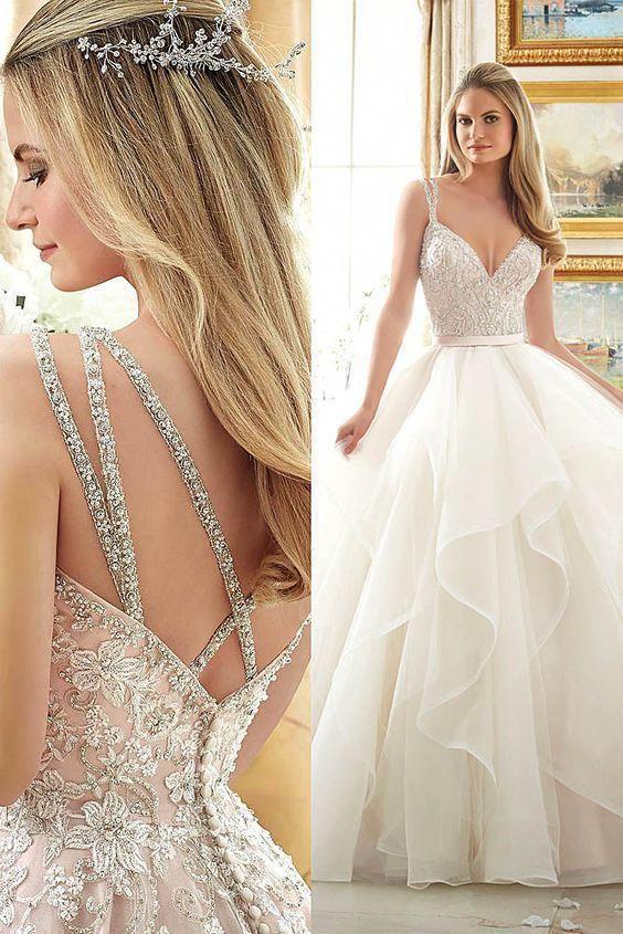 Pretty Layered Ball Gowns,Beading Wedding Dresses,Spaghetti Prom Dresses