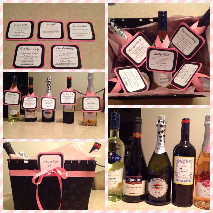 wine wedding shower gift poem%0A A year of firsts wine basket for bridal shower gift  Wedding night white  wine