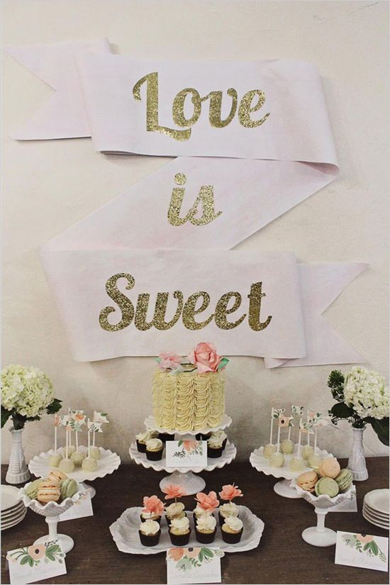 DIY Love Is Sweet Dessert Table // The Wedding Chicks {This DIY is so simple and utterly gorgeous at the same time, has everything from the note cards, banners and how to easily arrange the table}