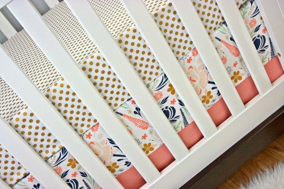 Metallic Crib Bedding Baby Bedding Bumperless by modifiedtot Would go with Ts navy and white bedding.