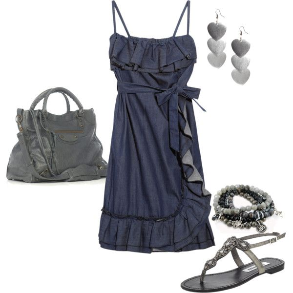 Denim & gray/silverSummer Dresses, Red Valentino, Cute Dresses, Clothing, Outfit, Denim, Polyvore, Style Fashion, Dreams Closets