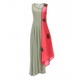 Dull Green and Pink Silk Embroidered Dress