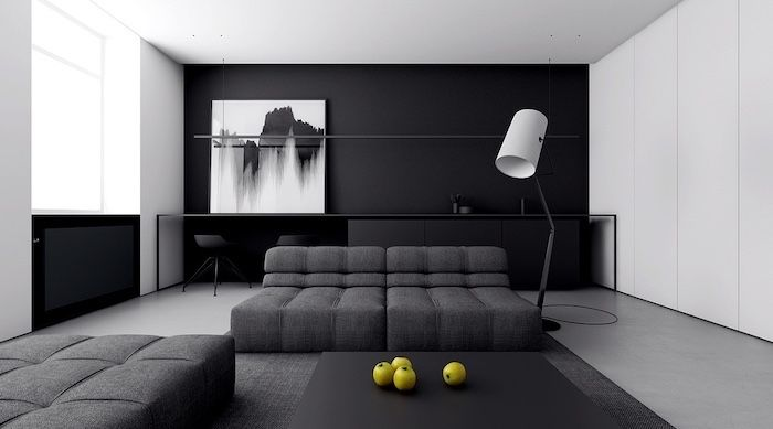 Black Wall Abstract Painting Dark Grey Sofas Black Coffee Table Wall Painting In 2020 Accent Walls In Living Room Living Room Decor Inspiration Minimalist Living Room