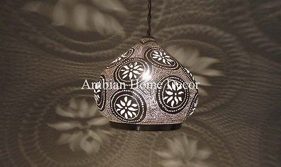 Unique Moroccan Handcrafted Silver Plated Brass Hanging Ceiling Light Lamp