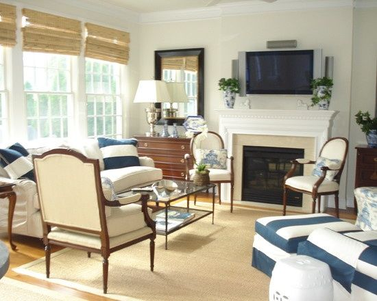 Traditional Family Room Bamboo Roman Shades Design, Pictures, Remodel ...