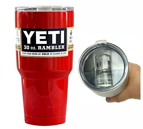 YETI Coolers 30 oz 30oz Stainless Steel Custom Rambler Tumbler Cup with Exclusive Spill Proof and Resistant Lid Red Gloss *** Check out this great product.