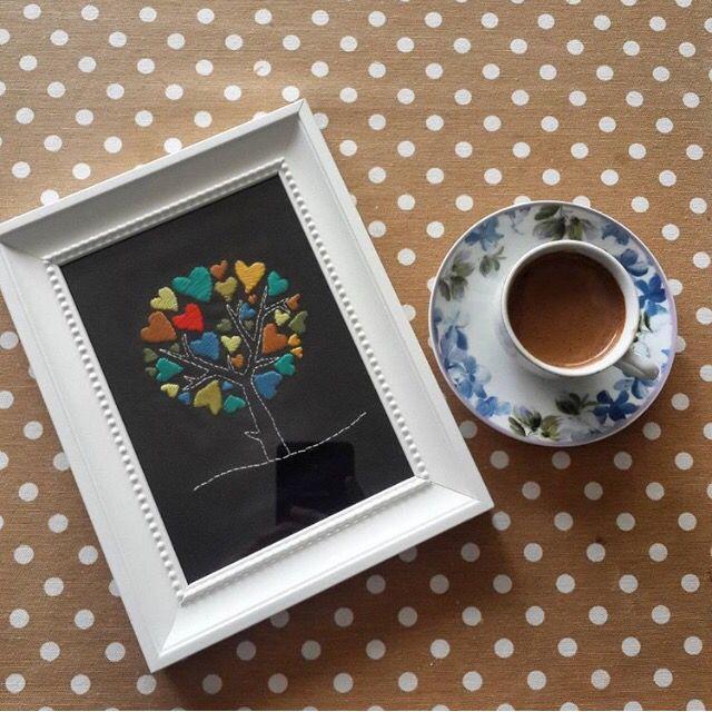 Tree, heart, embroidery, coffe Ağaç,kalp, kahve, Türk kahvesi