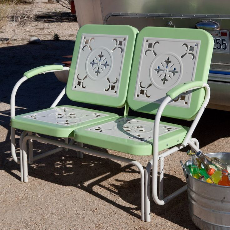 Coral Coast Paradise Cove Retro Metal Outdoor Glider Loveseat Green - DS7155G
