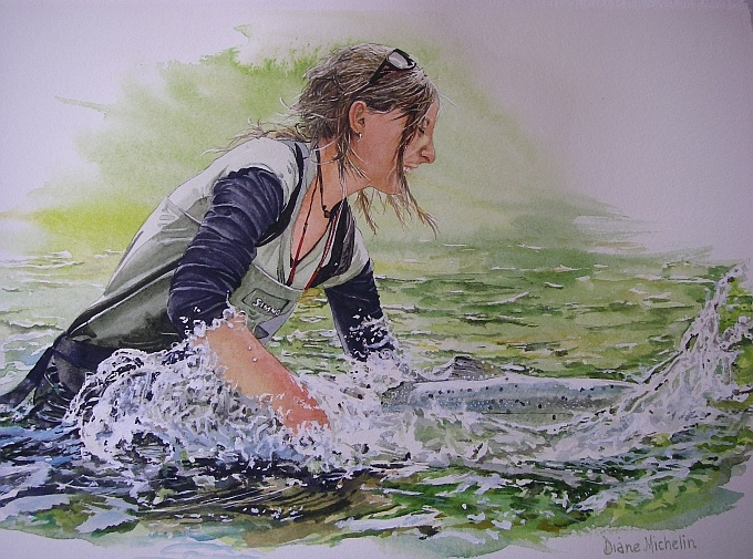 Would love to have the original painting of this! -Diane Michelin, Fly Fishing Fine Art