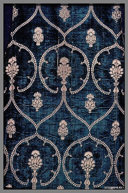 Panel Date: late 15th century Culture: Italian Medium: Silk and metal threads Dimensions: L. 43 x 37 1/2 inches (109.2 x 95.3 cm) Classification: Textiles-Velvets Credit Line: Rogers Fund, 1945 Accession Number: 45.63.1