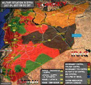 Militärische Lage in Syrien am 24. Juli 2017. (Grafik: Southfront.com)