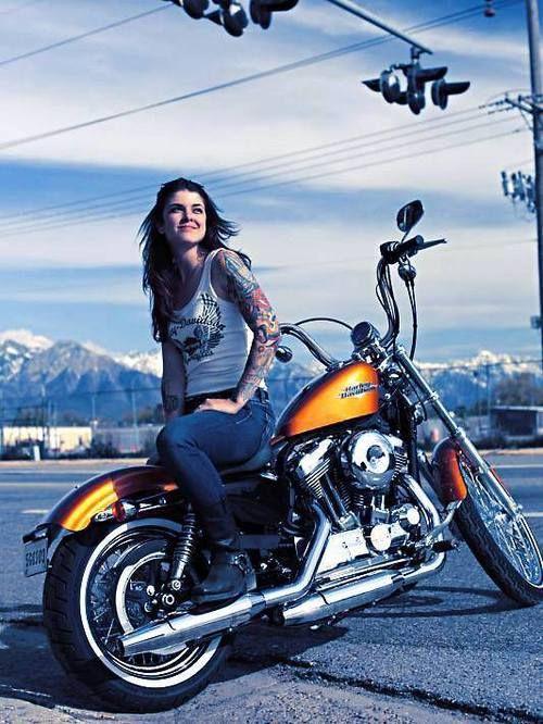 310 best harley davidson images on pinterest motorbike for Biker chick tattoos