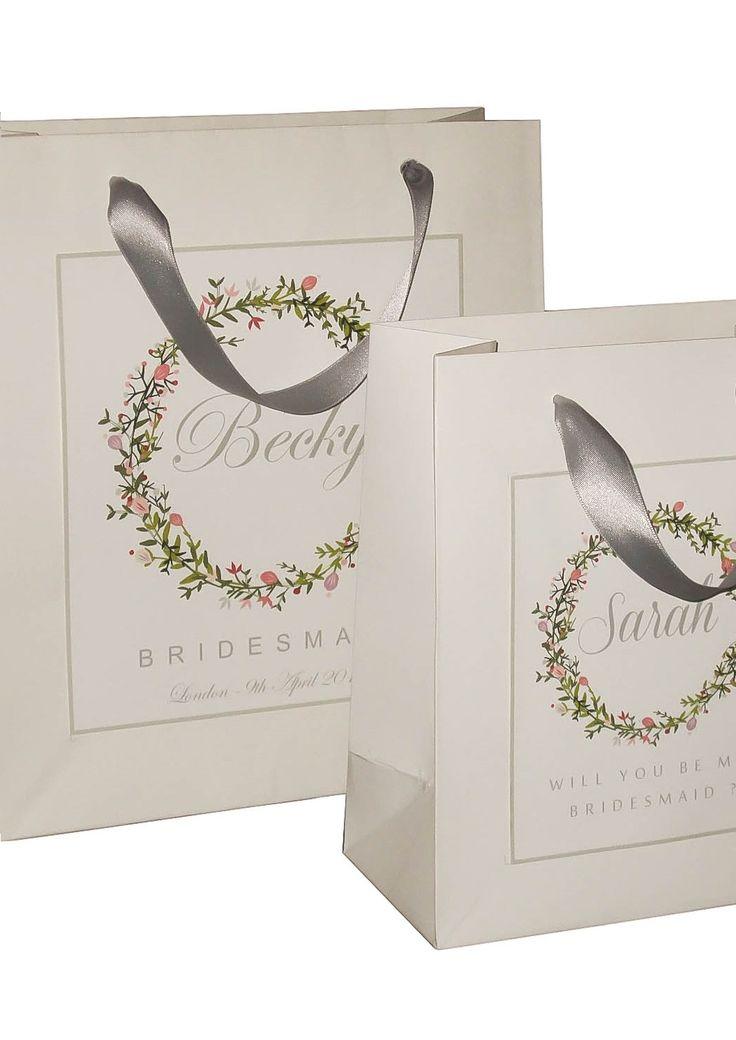 Personalized Bridesmaid gift bags white and grey bridesmaid bag small/medium size