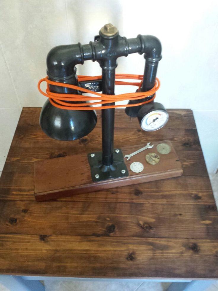 Gauge desk lamp Repurposed materials.