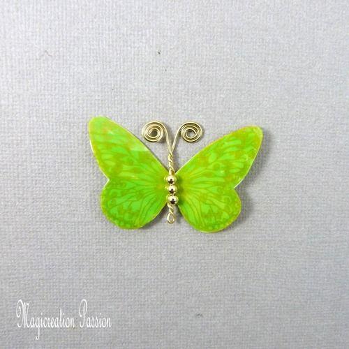 Papillon plastifié apolline vert et doré 5 cm