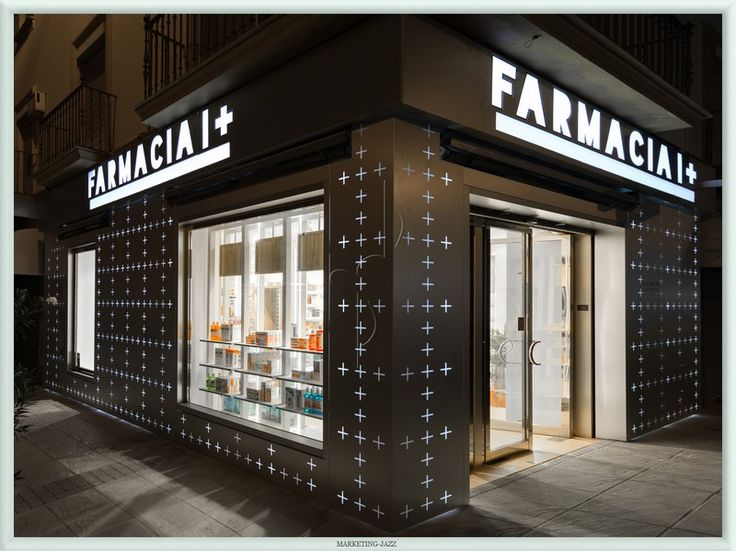 Diseño fachada franquicia Farmacia I+ por Marketing-Jazz, Sevilla