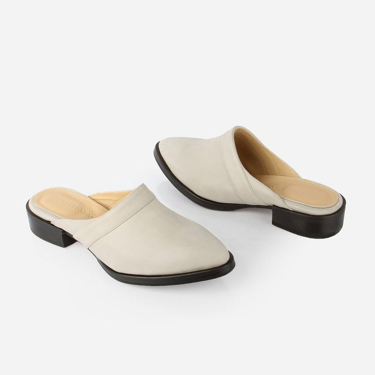 The Slide - light grey suede womens close toe shoe - Poppy Barley