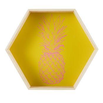 Étagère en paulownia jaune imprimé ananas MAYA