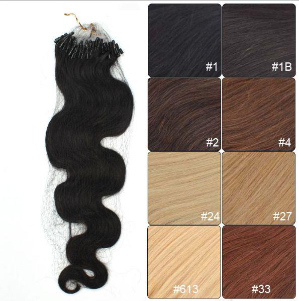 Mega Hair Microlink Cabelo Humano Ondulado 51 Cm 100 Mechas 50 Gramas Cores #1 # 1b, #2, #4, #33, #24, #27, #613 //Price: $241.00 & FREE Shipping