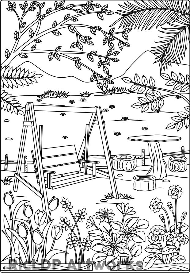 """At the Park"" Coloring Page for Adults Adult coloring"
