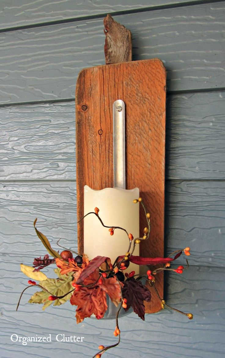 Fall Décor: Barn Wood Pumpkin Ladle Candle Holder www.organizedclutterqueen.blogspot.com