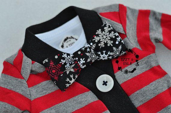 EDITION limitée - vacances du petit garçon Cardigan Set - Set de noeud papillon rouge/gris - Cardigan rayé - petit Mister Onesie Set