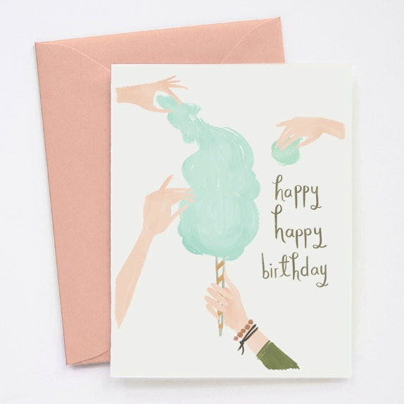 Cotton Candy Birthday Card 1pc by QuillandFox on Etsy, $4.00