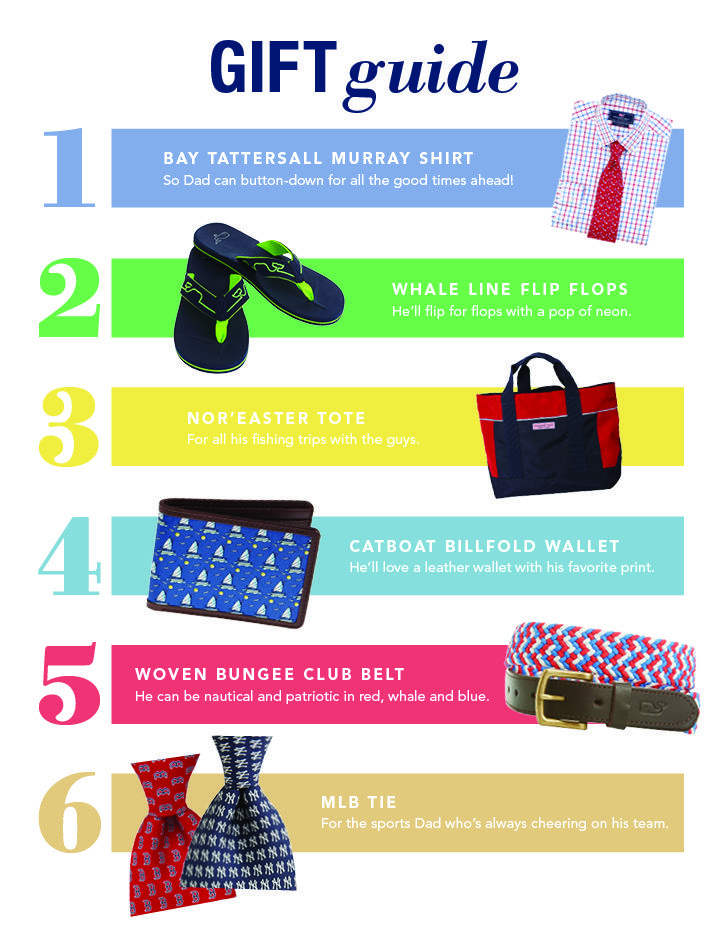 @vineyard vines gift guide for a great Father's Day! Stop into any Vineyard Vines locations and grab dad the gift he deserves.