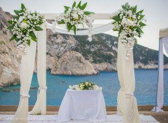 Alexia and Tom Greek Wedding in Lefkas. Orchid wedding arch