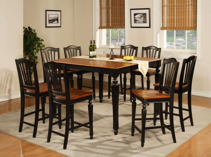 9pc Square Counter Height Dining Room Table With 8 Chair In Black U0026 Cherry  Brown