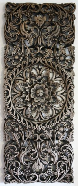 20th Century Teak Wood Hand Carved Panel, Thailand.