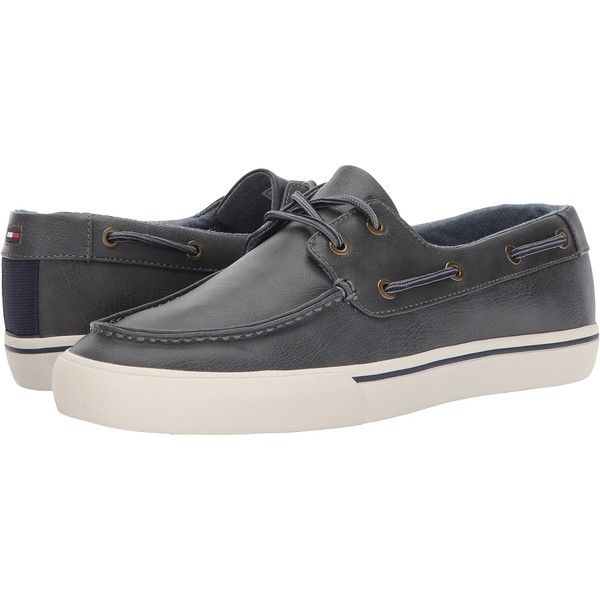 Tommy Hilfiger Pharis2 (Grey) Men\u0027s Moccasin Shoes ($43) ? liked on  Polyvore featuring men\u0027s fashion, men\u0027s shoes, grey, mens shoes, mens boat  shoes, mens ...