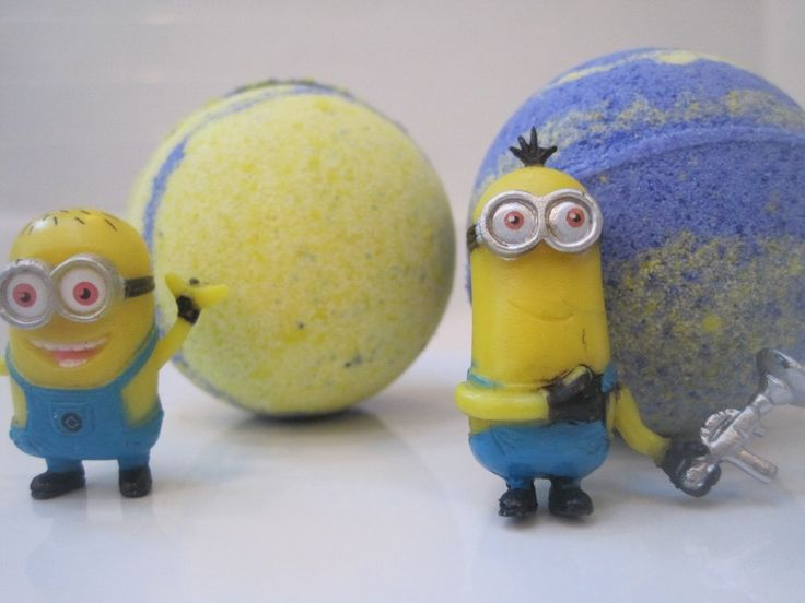 NEW MINION bombs - kid friendly bath bombs with a surprise toy inside by BerwynBettysBathShop on Etsy
