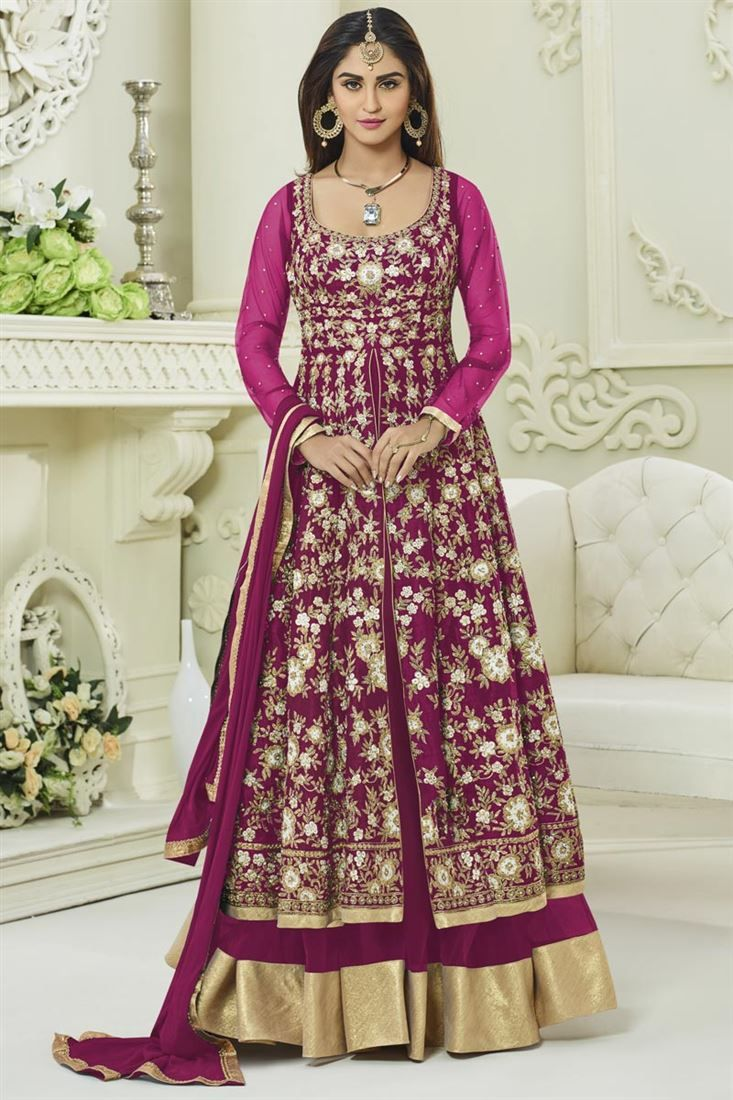Online Shopping of Krystle Dsouza Party Wear Designer Rani Color Silk And Net Fancy Long Anarkali Dress from SareesBazaar, leading online ethnic clothing store offering latest collection of sarees, salwar suits, lehengas & kurtis