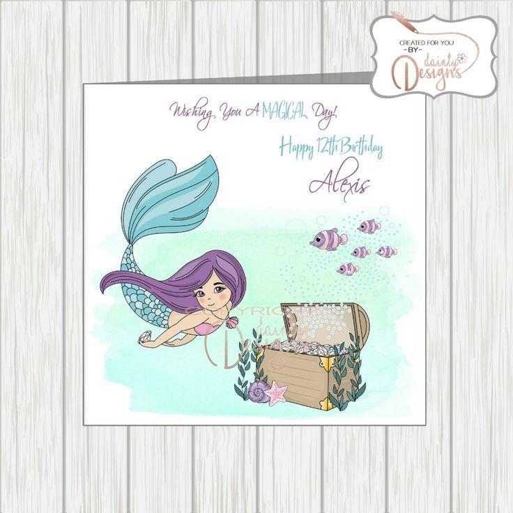 Personalised Mermaid Girl Birthday Card Daughter
