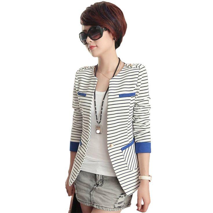 LinsDenim 2016 Blazer Women Slim Fit Blazer Suit Jacket Black White Striped Women Long-sleeve Blue Striped Suit Blazer Female