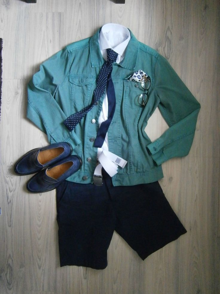mint jeans jacket / navy blue cotton shorts / white long arm shirt / blue knitted tie with white dots / white silk handkerchief with blue floral motif / blue loafers / white cotton belt