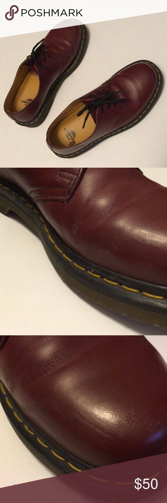 Doc Martens oxblood originals 3-eye UK 6. Oxblood oxfords. Used condition. Illustrated what is beyond considered normal wear/scuffs. UK 6. Thanks for looking, and I'm open to offers! Dr. Martens Shoes Flats & Loafers