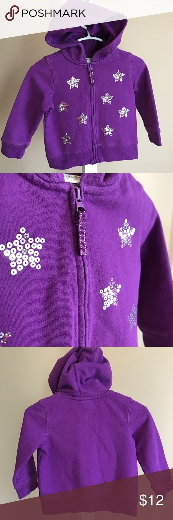 Purple Star Bling Super Awesome Hoodie My girl LOVED this purple hoodie with silver sequin stars!  Despite the wear and wash it still looks like new - this thing is DURABLE!  Love this one! Toughskins Shirts & Tops Sweatshirts & Hoodies